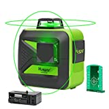 Huepar 602CG 2 x 360 Kreuzlinienlaser Grün, 360 Grad Linienlaser Selbstnivellierenden Laser Level mit Pulsfunktion, 25m Arbeitsbereich, (inkl. Universal Lithiumbatterie, AA Batterie und Halterung)