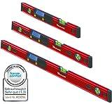 Kaleas Digitale Wasserwaage 3er Set 40cm / 70cm / 100cm mit 3-fach Libellen, integrierten Magneten und Schutz-Tasche (34190.K1)