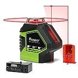 Huepar 621CR 1 x 360 Kreuzlinienlaser Rot mit 2 Laserpunkte, 360 Grad Linienlaser Selbstnivellierenden mit Pulsfunktion und Lotfunktion, Umschaltbar Punkt- und Kreuzlinien-Laser, 20m Arbeitsbereich