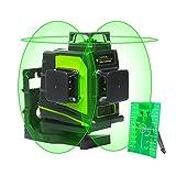 Huepar GF360G 3 x 360 Kreuzlinienlaser, Professionell Grüner Laserstrahl Multilinienlaser, 45m Arbeitsbereich, Umschaltbar Selbstnivellierenden 360° Laserlinie