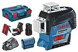 Bosch Professional Linienlaser GLL 3-80 C (1x 2,0 Ah Akku, 12 Volt, Arbeitsbereich mit Empfänger: 120 m, Zubehör Set, in L-BOXX)